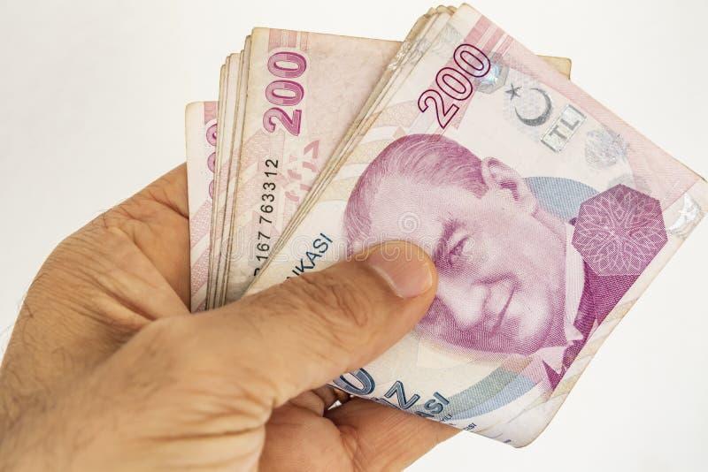 Twee honderd Turkse Lirebankbiljetten in omloop royalty-vrije stock afbeeldingen