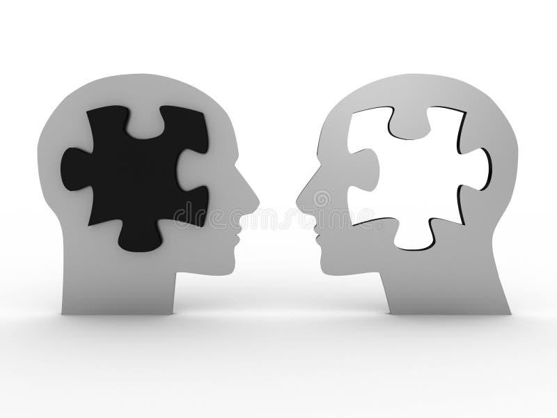 Twee hoofden met een raadsel. 3D beeld stock illustratie