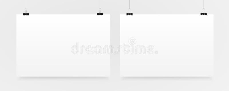 Twee Horizontaal Affichemodel A4 Model royalty-vrije illustratie