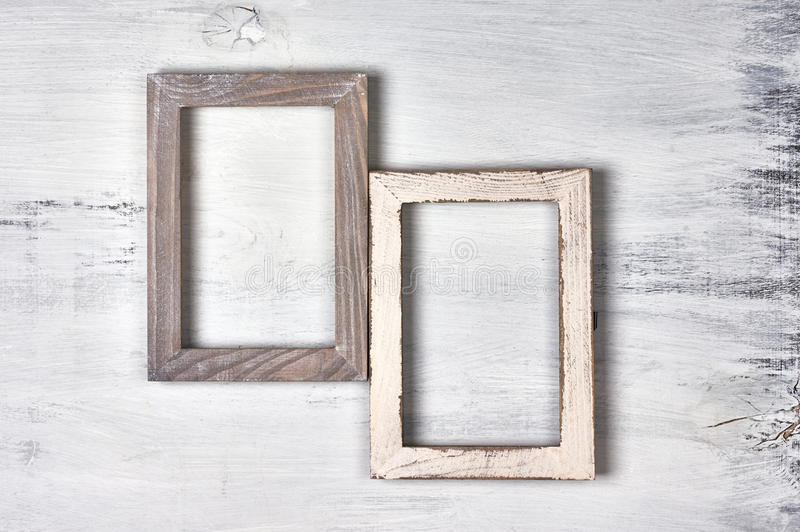 Twee houten fotokaders royalty-vrije stock afbeeldingen