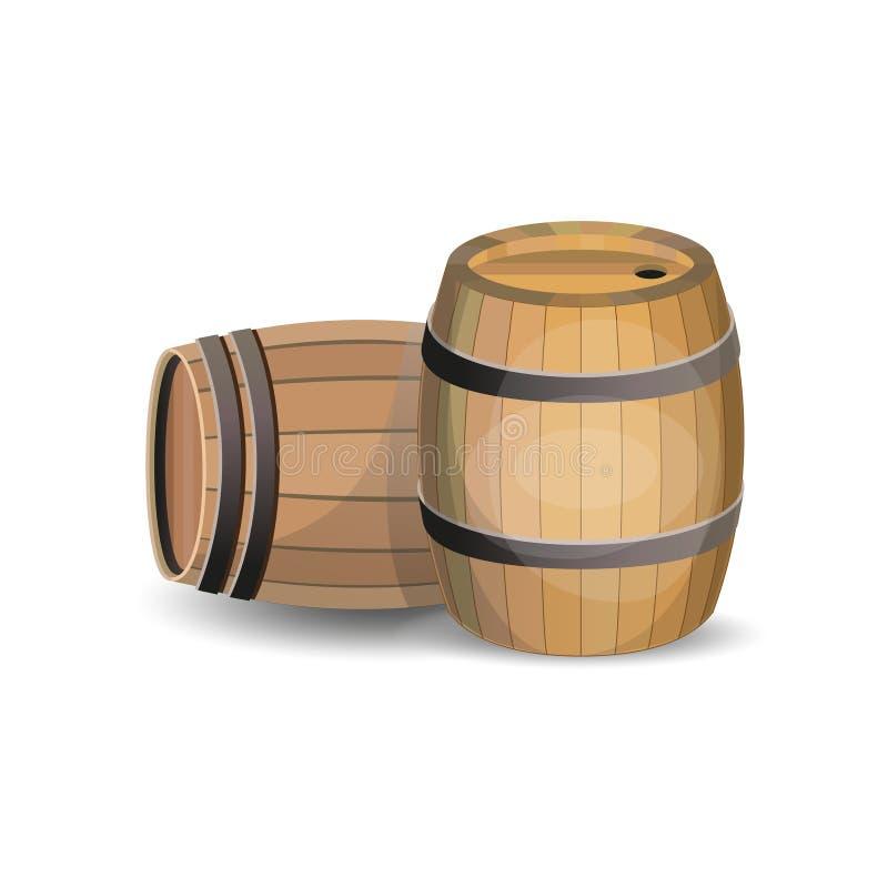 Twee houten vaten stock illustratie