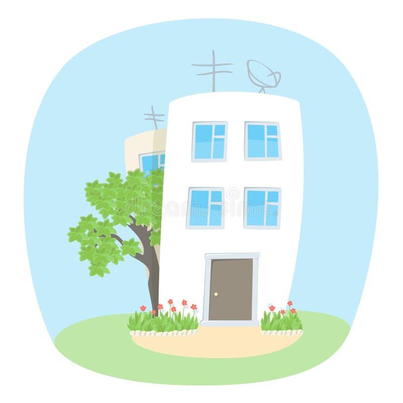 Twee huizen en een boom in de zomer vector illustratie
