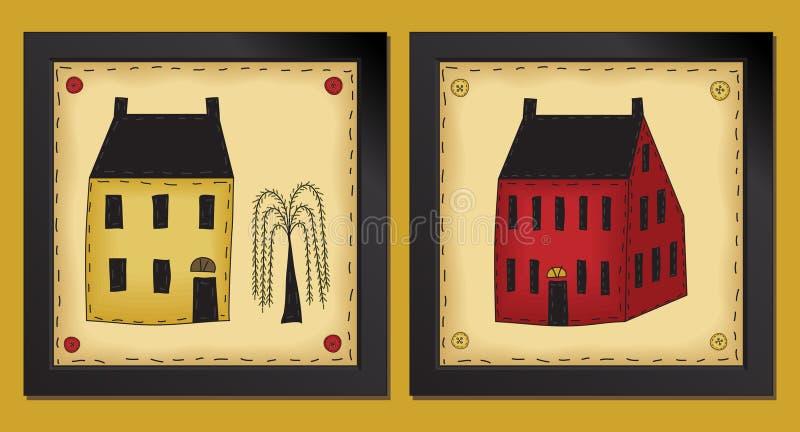 Twee Huizen van weinig de VolksKunst royalty-vrije illustratie