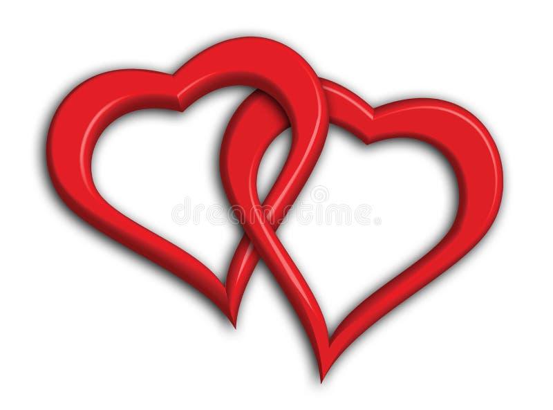 Twee ineengestrengelde harten vector illustratie