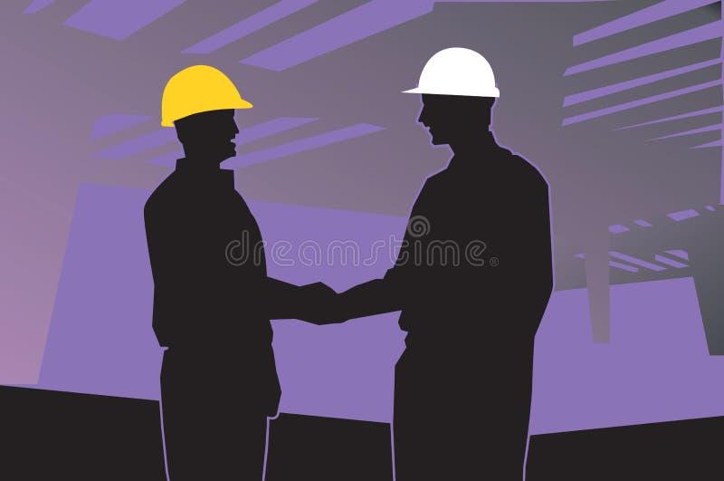 twee ingenieurs die handen schudden stock illustratie