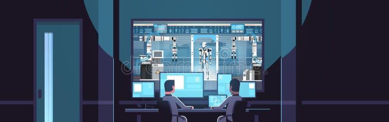Twee ingenieurs die monitors achter van de de productie moderne fabriek van de glasrobot robotachtige de industriekunstmatige int stock illustratie