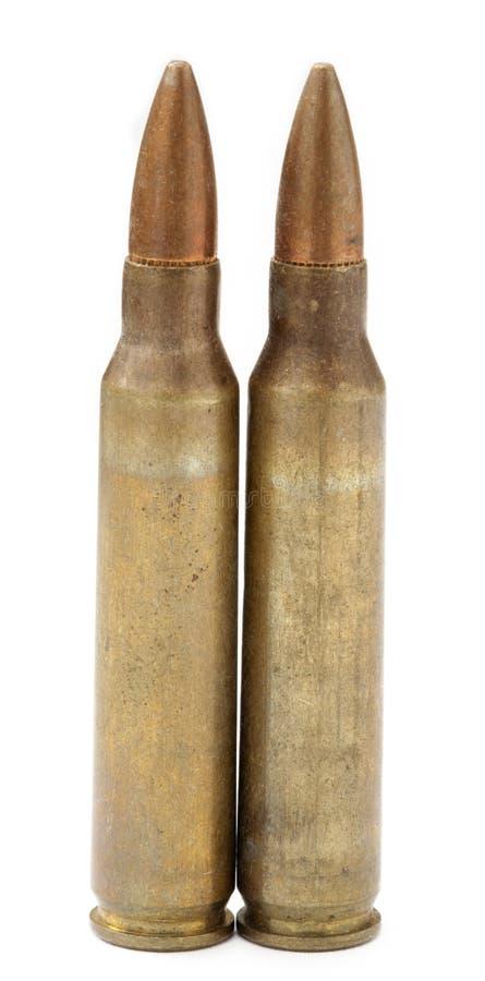 Twee 5.56 Patronen en Kogels royalty-vrije stock afbeelding