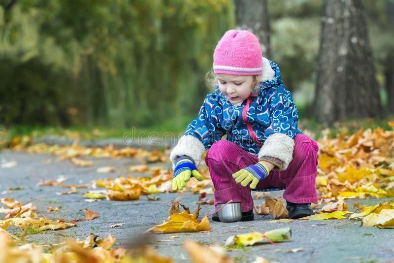 Twee jaar oud meisjes die haar hand uitrekken aan de kop van de metaalthermosfles het hunkering bij de herfstgebladerte die achte stock fotografie