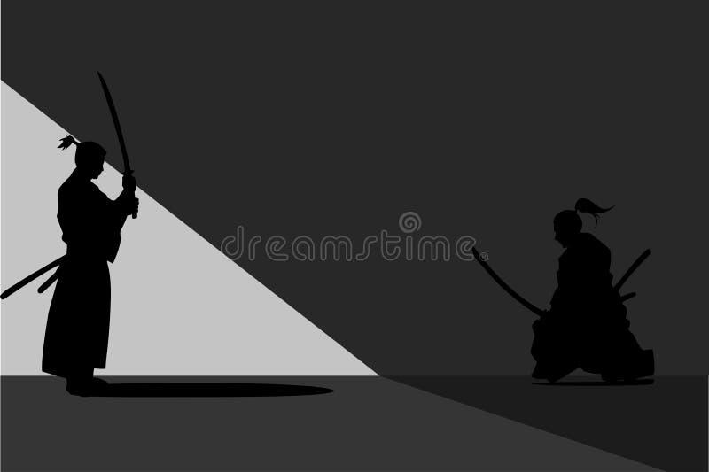 Twee Japanse Zwaardvechter, Duel, het Vechten royalty-vrije illustratie