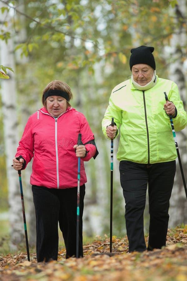 Twee jasje geklede bejaarden zijn betrokken bij het Skandinavische lopen in het park in off-road Wijd geschoten Daling stock foto
