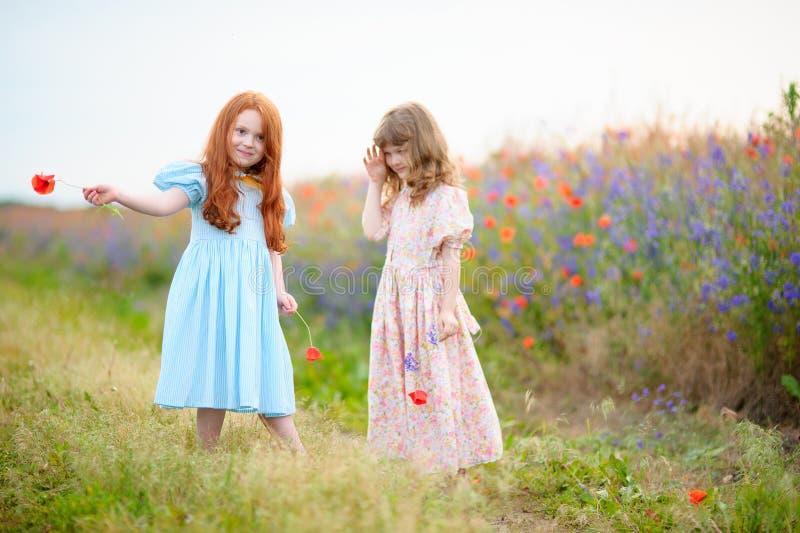 Twee jong geitjemeisjes die en met wilde bloemen bij de zomer DA spelen dansen royalty-vrije stock afbeeldingen