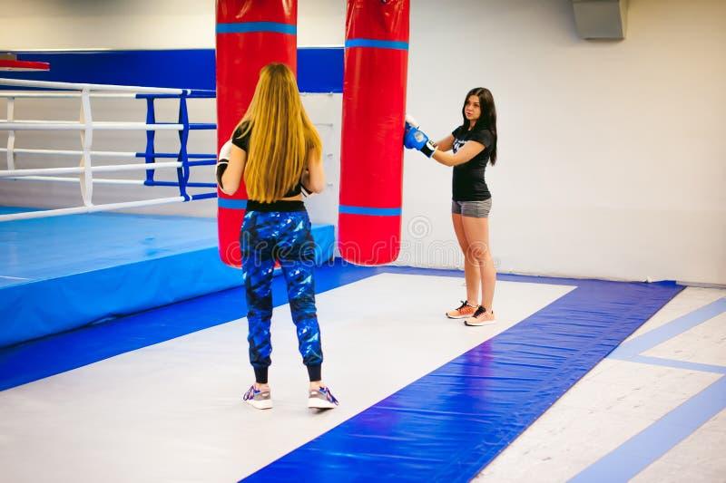 Twee jonge atletische lichaamsbouwvrouwen in gymnastiek royalty-vrije stock foto