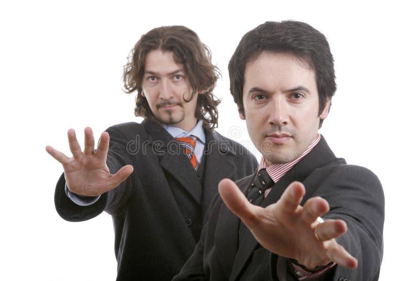 Twee jonge bedrijfsmensenportrai royalty-vrije stock afbeelding