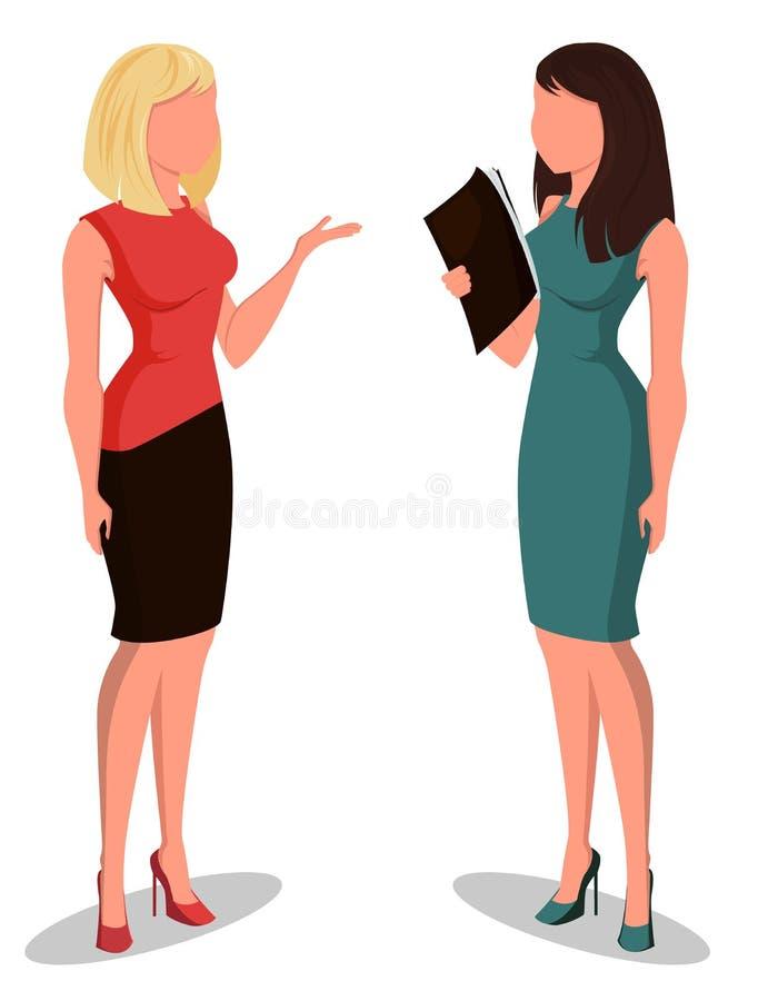 Twee jonge beeldverhaalonderneemsters in bureaukleren Mooie meisjes die voor vergadering voorbereidingen treffen royalty-vrije illustratie