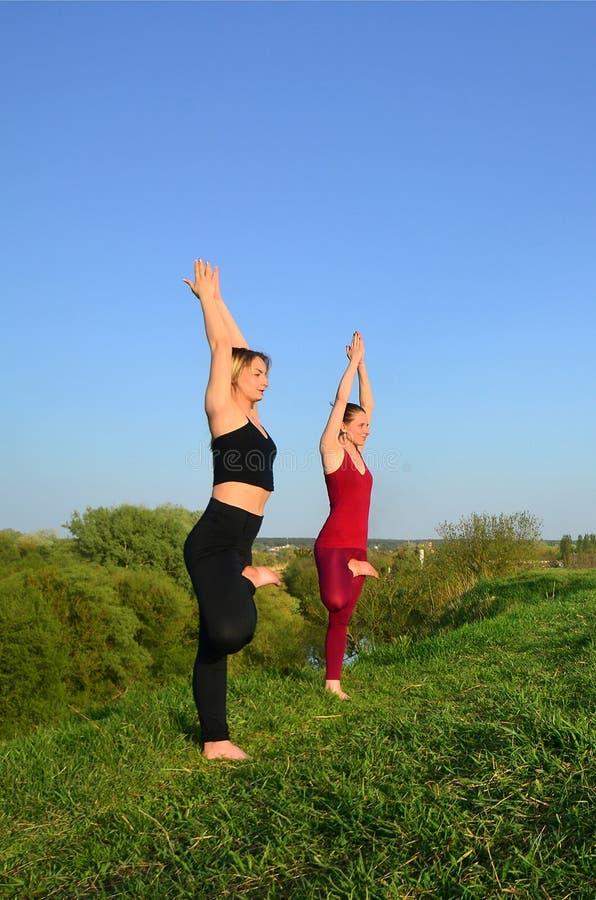 Twee jonge blonde meisjes in de praktijkyoga van sportenkostuums op p royalty-vrije stock fotografie