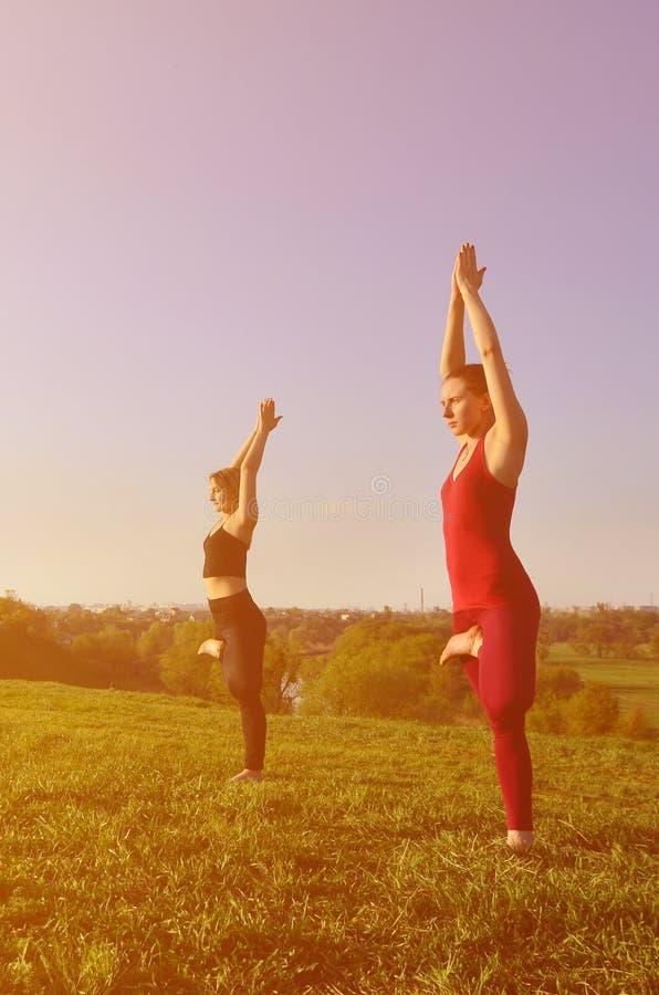 Twee jonge blonde meisjes in sporten past praktijkyoga op een schilderachtige groene heuvel aan stock foto