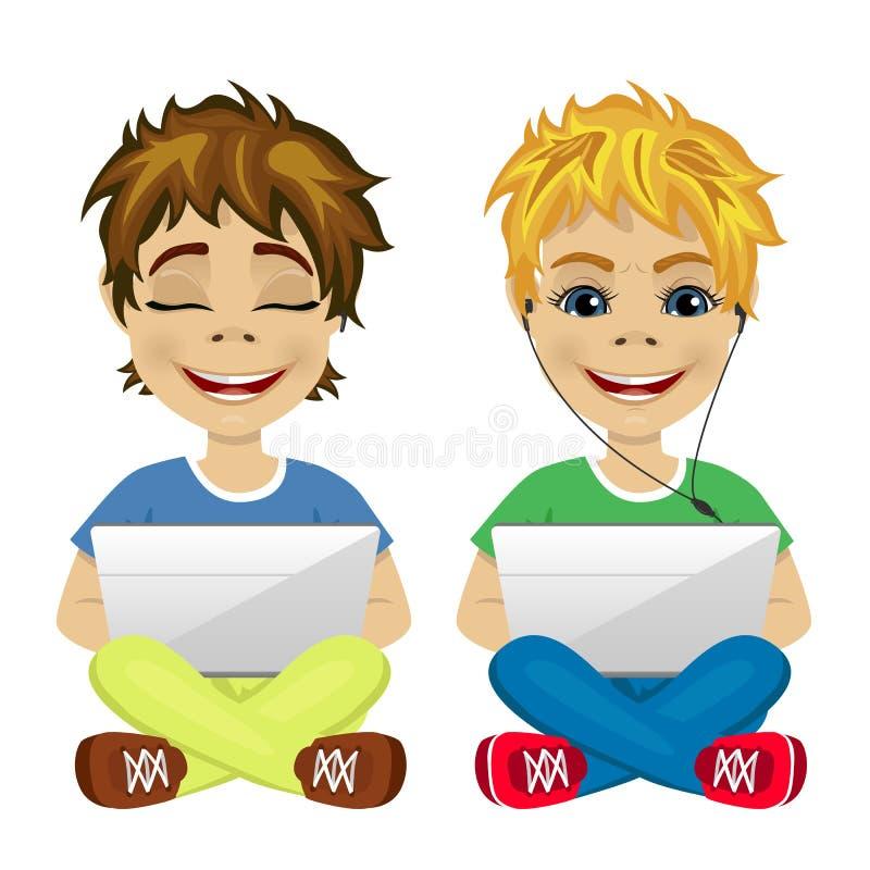 Twee jonge gamers die op de vloer zitten die laptop met behulp van stock illustratie