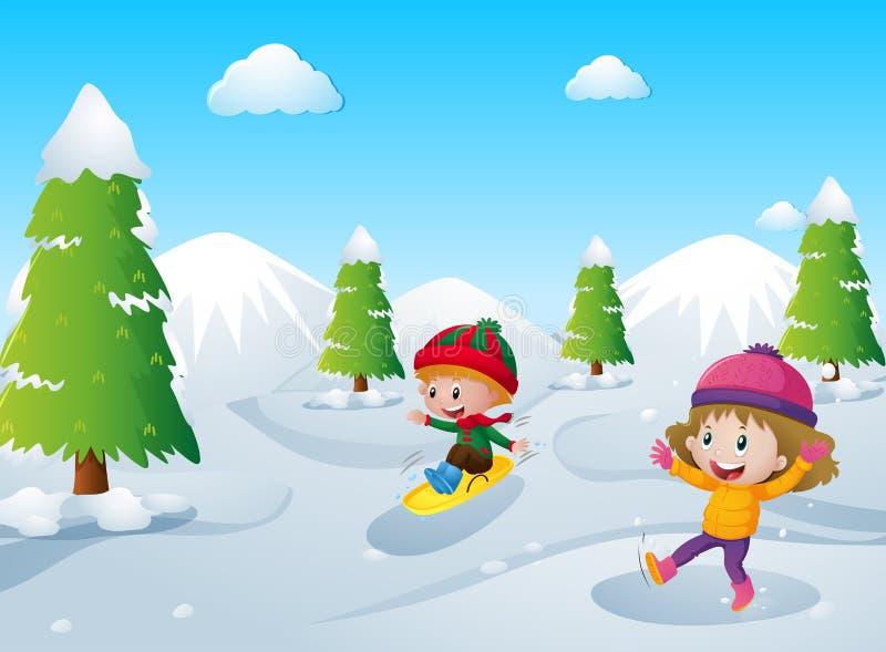 Twee jonge geitjes die met sneeuw spelen vector illustratie