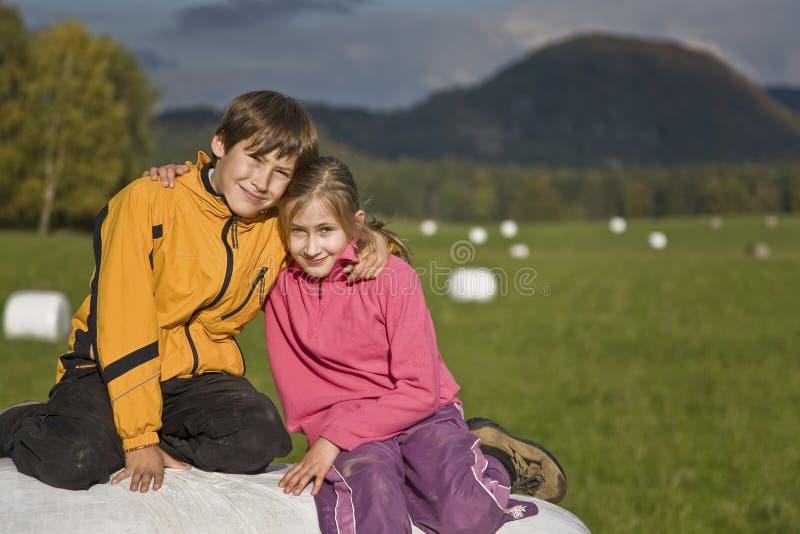 Twee jonge geitjes die op een hooibaal zitten royalty-vrije stock foto's