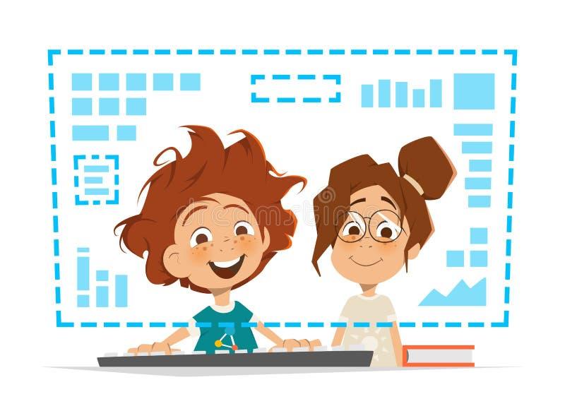 Twee jonge geitjeskind die het voor Online onderwijs van de computermonitor zitten royalty-vrije illustratie