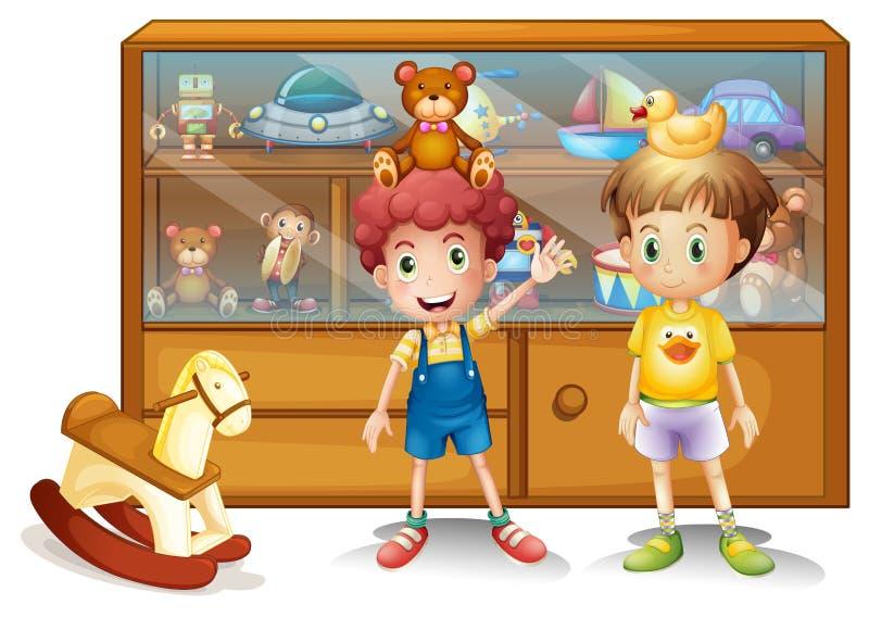 Twee jonge jongens voor een kabinet met speelgoed stock illustratie
