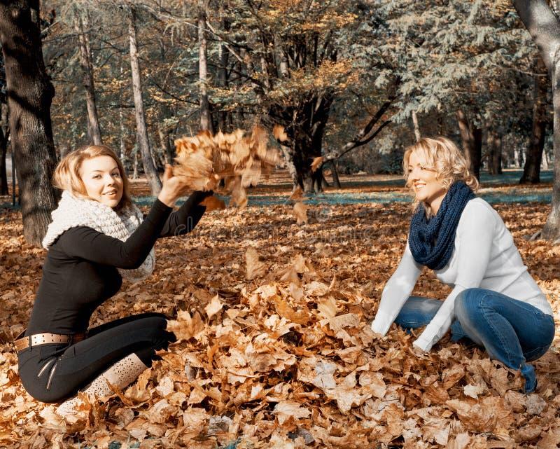 Twee jonge Kaukasische vrouwen die gele bladeren werpen stock afbeelding