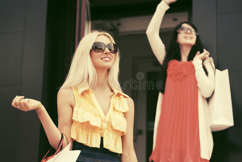 Twee jonge maniervrouwen met het winkelen zakken bij de wandelgalerij stock foto's