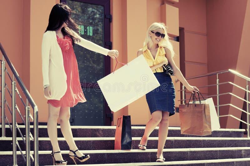 Twee jonge maniervrouwen met het winkelen zakken op de wandelgalerijstappen stock afbeelding