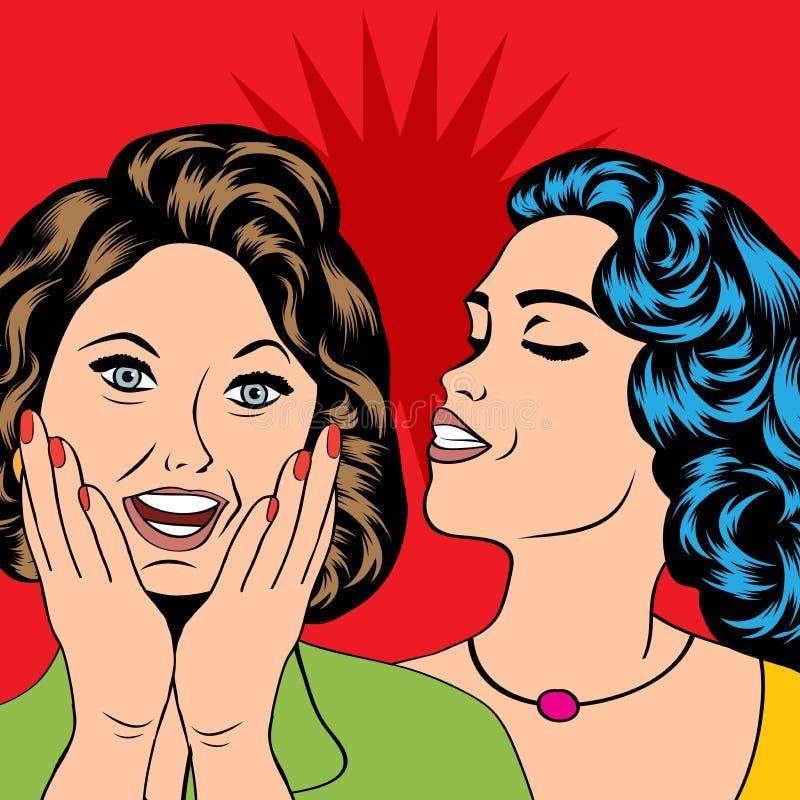 Twee jonge meisjes die, grappige kunstillustratie spreken royalty-vrije illustratie
