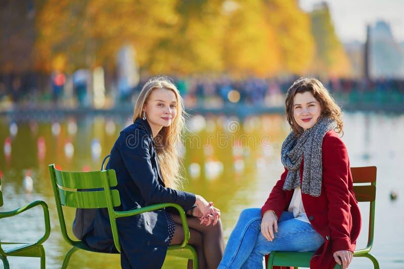 Twee jonge meisjes op een zonnige dalingsdag royalty-vrije stock fotografie