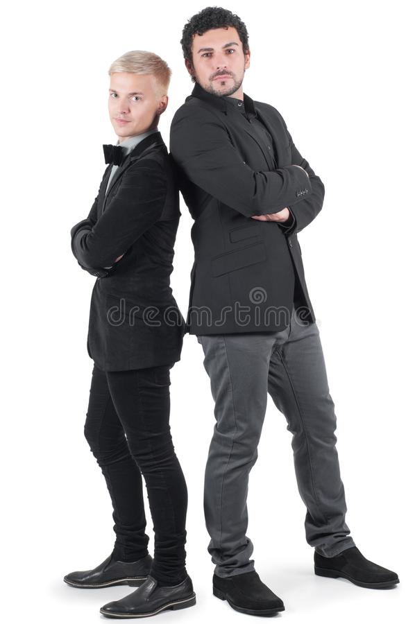 Twee jonge mensen in jasjes royalty-vrije stock foto