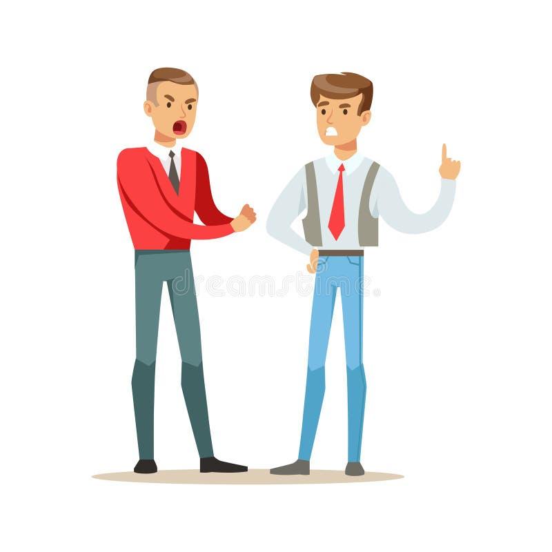 Twee jonge mensen vechten boos en het schreeuwen bij elkaar, de negatieve vectorillustratie van het emotiesconcept vector illustratie