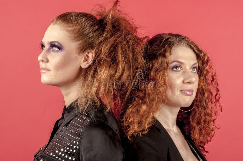 Twee jonge roodharige meisjes in heldere samenstelling stock afbeelding