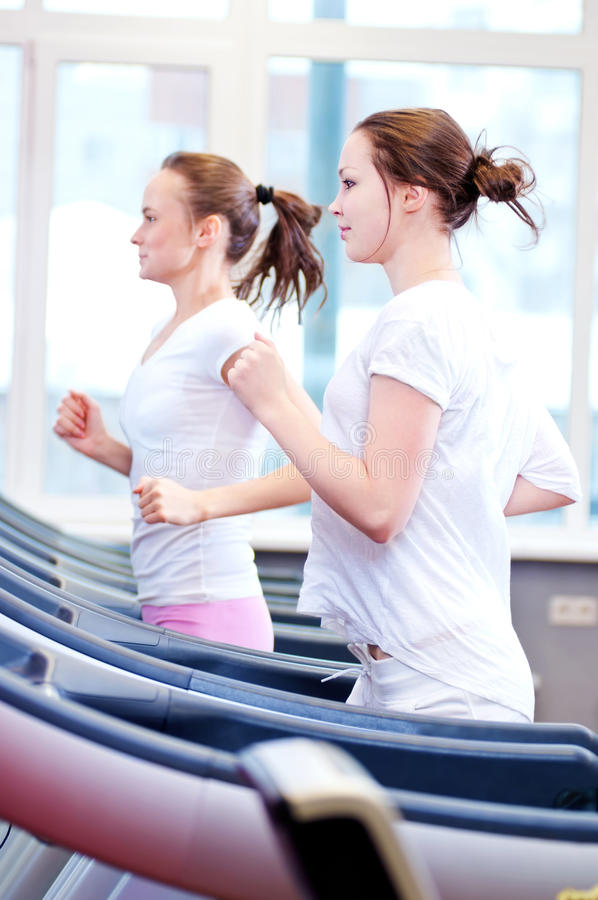Twee jonge sportieve die vrouwen op machine in werking worden gesteld stock afbeelding