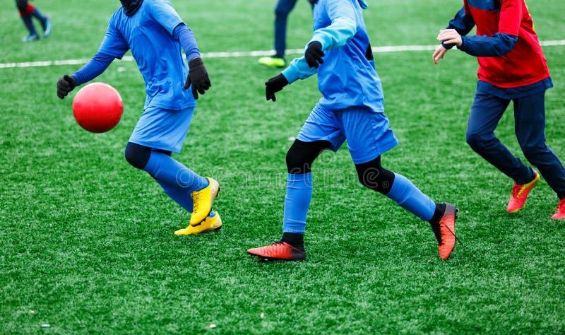 Twee jonge Voetballers in het rode en blauwe sportkleding lopen, dribble en het concurreren voor bal Junior Football Match Compet stock afbeeldingen