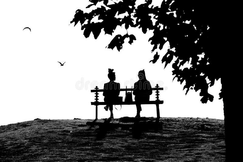 Twee jonge vrouwelijke vrienden die terwijl het zitten op een pa spreken stock foto's