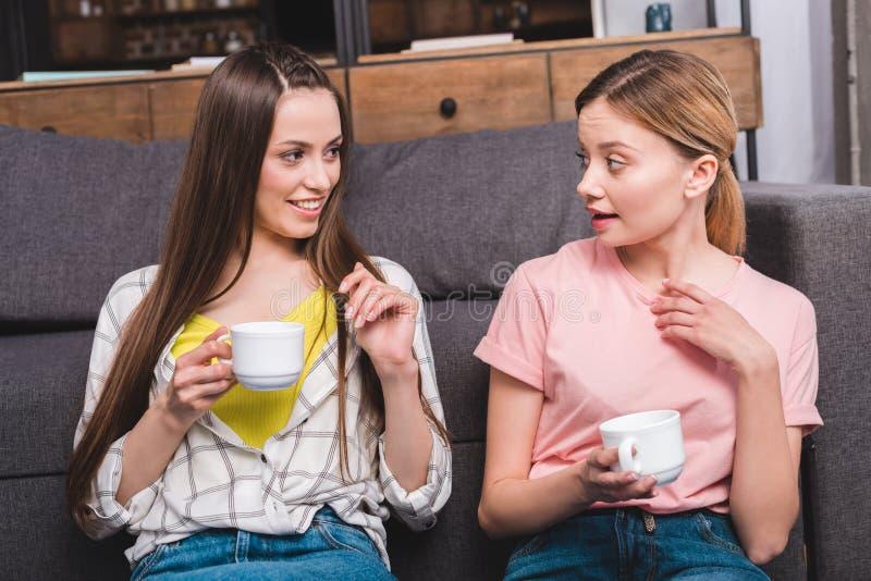 twee jonge vrouwelijke vrienden met koppen die van koffie op bank situeren royalty-vrije stock foto's