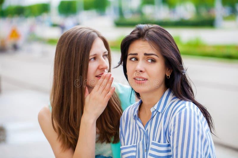 Twee jonge vrouwen die aan elkaar spreken stock foto's