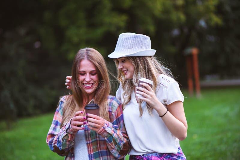 Twee jonge vrouwen die handen houden lopend in groen park Beste Vrienden stock foto