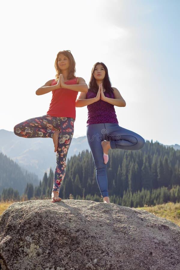 Twee jonge vrouwen die yoga op een rots doen royalty-vrije stock fotografie