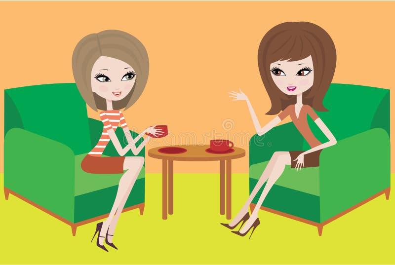 Twee jonge vrouwen spreken in leunstoelen stock illustratie
