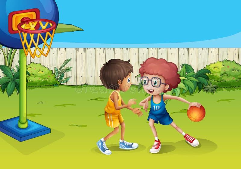 Twee jongens die basketbal binnen de omheining spelen stock illustratie