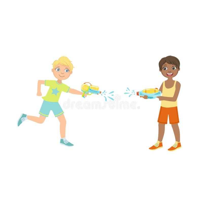 Twee Jongens die een Strijd van het Waterpistool hebben vector illustratie