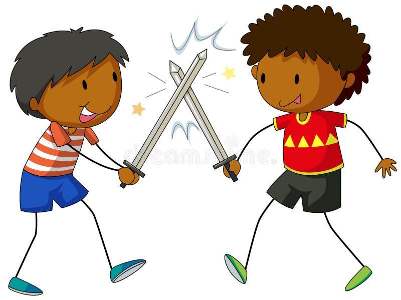 Twee jongens die met zwaarden vechten stock illustratie