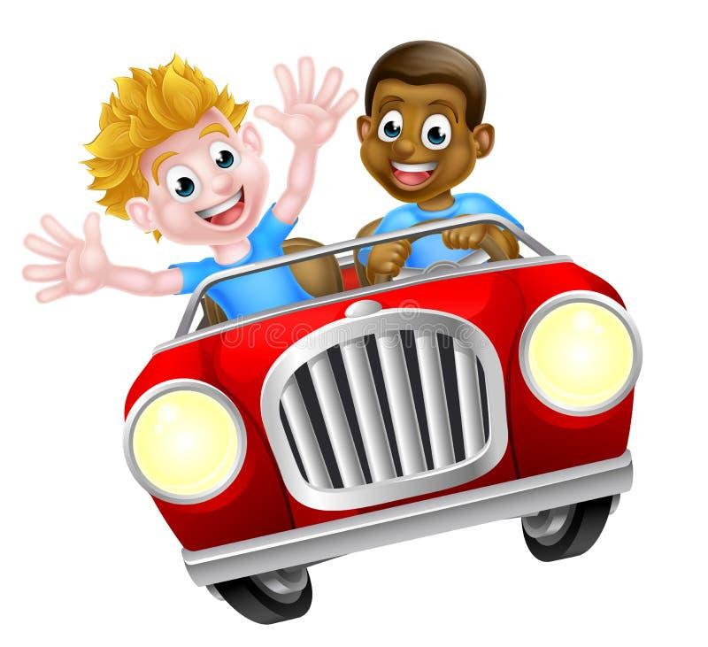 Twee Jongens in een Auto vector illustratie