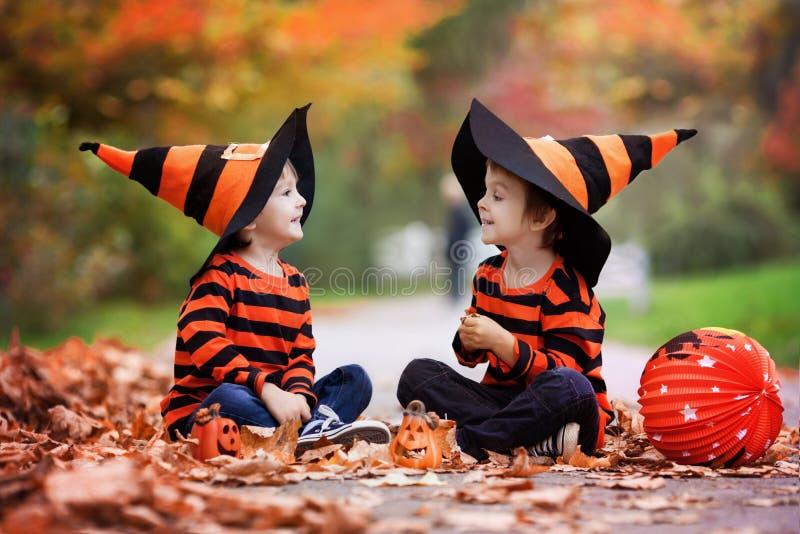 Twee jongens in het park met Halloween-kostuums stock afbeeldingen