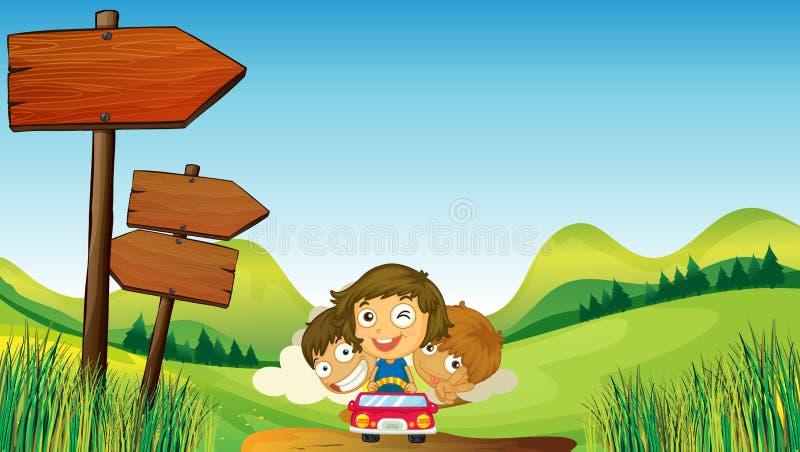 Twee jongens met het één jonge meisje berijden stock illustratie