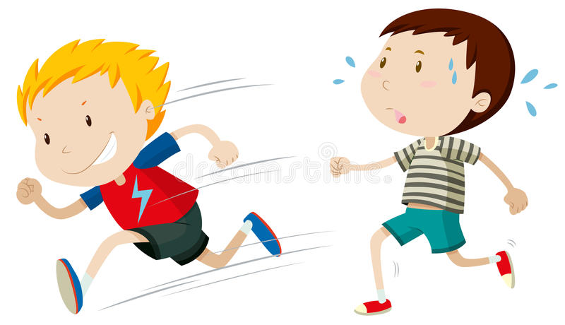 Twee jongens snel en langzaam lopen royalty-vrije illustratie