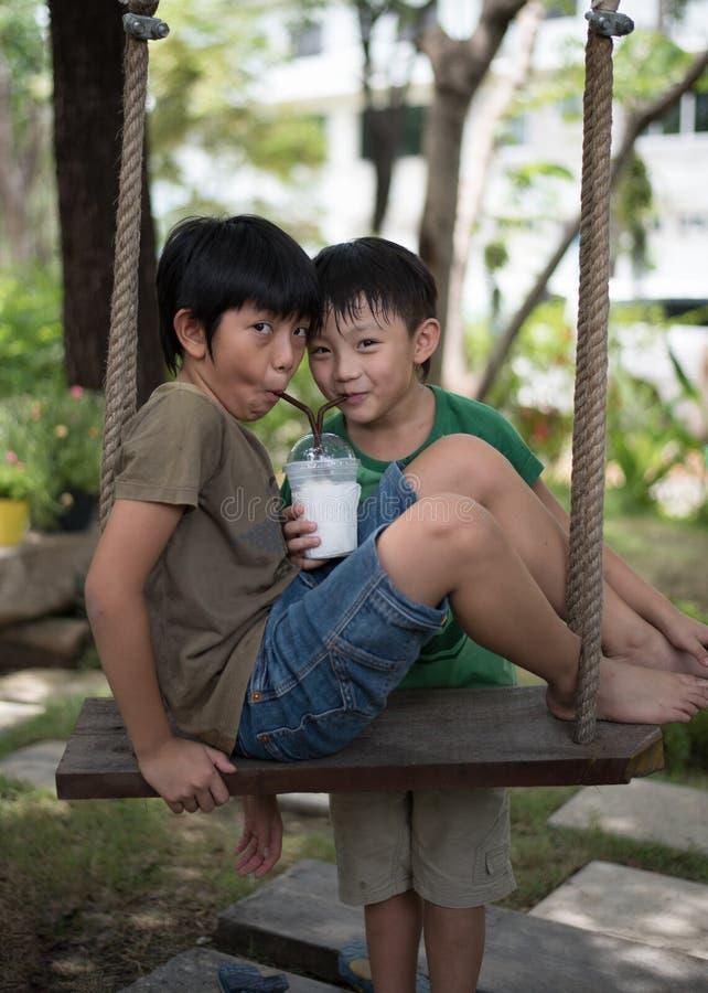 Twee jongensdrank smoothie royalty-vrije stock foto