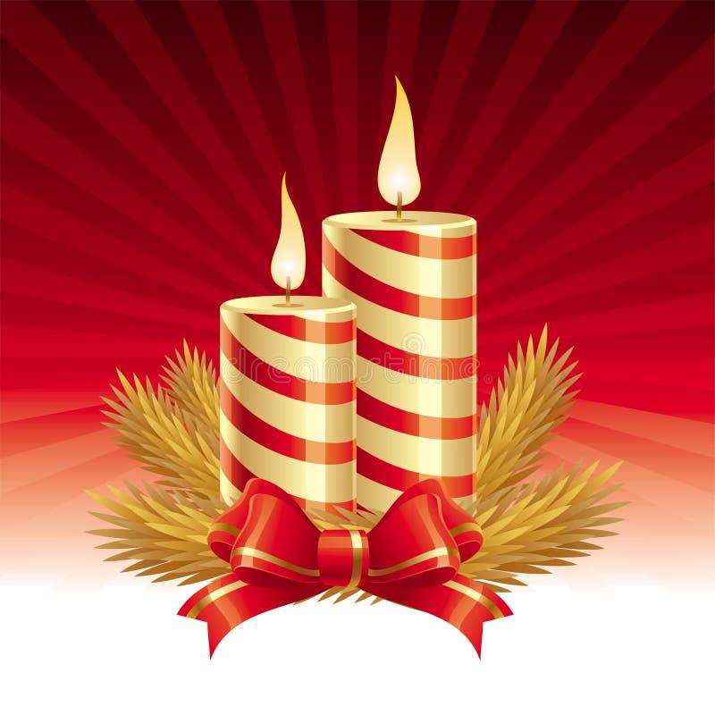 Twee kaarsen van Kerstmis royalty-vrije illustratie